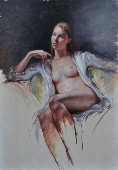 Derek Harrison, White Silk Robe