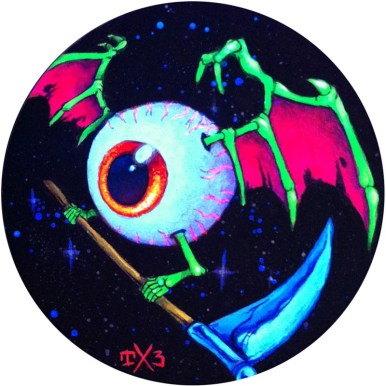 Thomas Lynch III - Space Eye (black light) Acrylic, Blacklight Paint $200