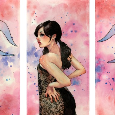 "Watercolor, ink, and acrylic glazing on 300lb cold press paper each panel 9.5 x 18"", together 18 x 31.5"" $2250.00 Sold"