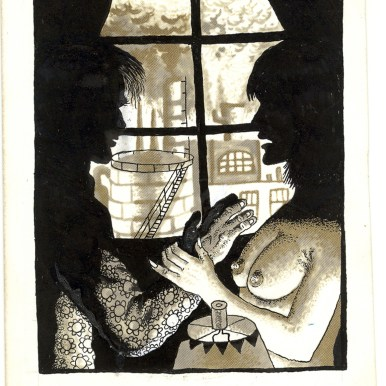 First Underground Comix Work of Joe Coleman; Final Days of Paul John Knowles, 1988 Ink on paper 6.5 x 4.74 in. SOLD