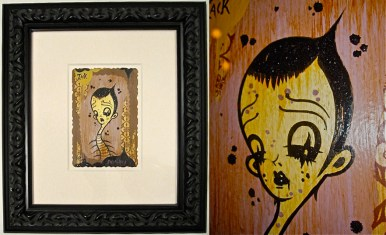 Acrylic, wallpaper & glitter on paper, 2005 The Saddest Place on Earth exhibition and published catalog, 5.5 x 7 in. (15 x 17 in. framed) $3,800.00