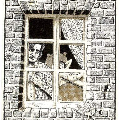 First Underground Comix Work of Joe Coleman; Final Days of Paul John Knowles, 1988 Ink on paper 5.25 x 4.25 in. $3,000