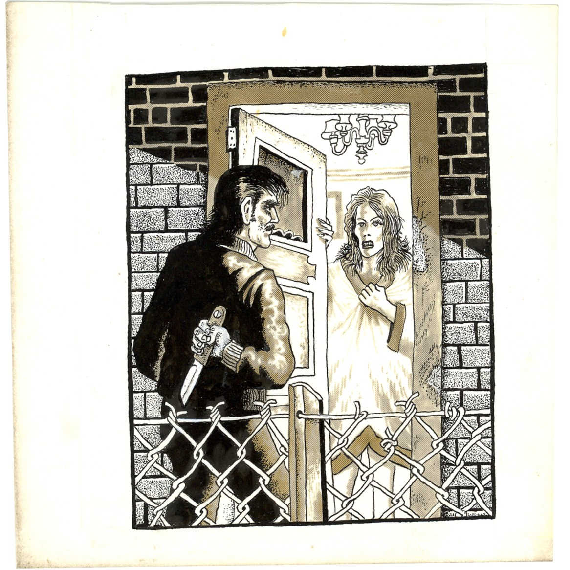 First Underground Comix Work of Joe Coleman; Final Days of Paul John Knowles, 1988 Ink on paper 6.25 x 6.25 in. $3,000