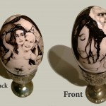 Brushed ink & pyrography on egg, 3.5 x 2 in. (stand not incuded) $275.00