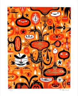 Tim Biskup - Flaming Ghost BlossomSilkscreen on heavy stock paper (edition of 200), 16 x 20 in. $200