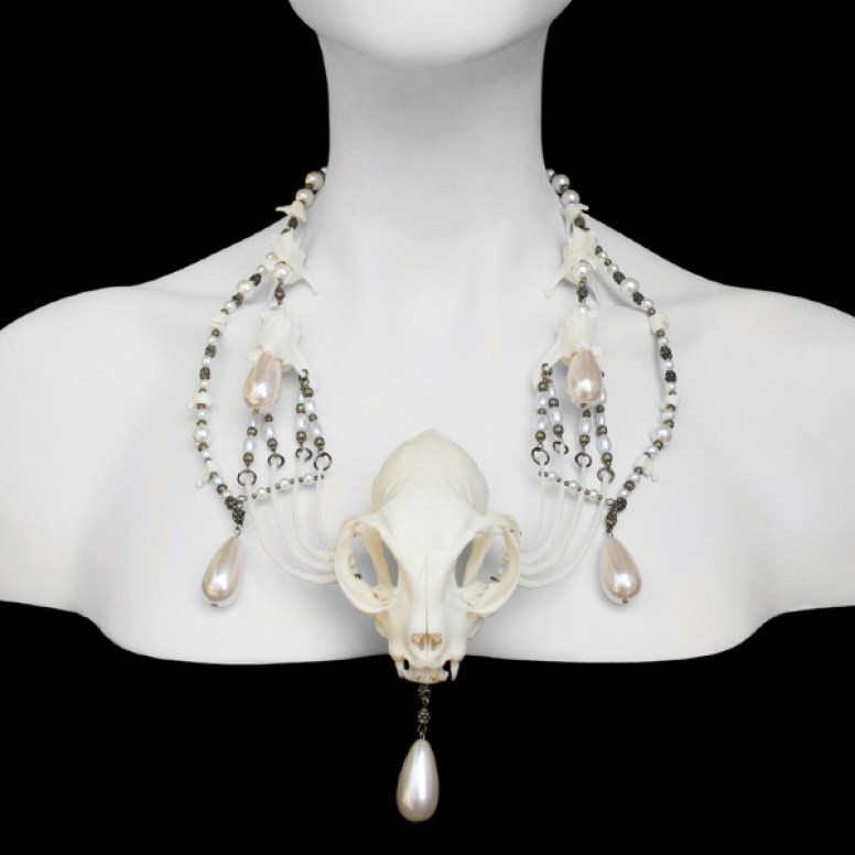 Cat skull & bones, brass beads, faux pearls 20 x 2.25 x 3.5 x 2 in. $750.00