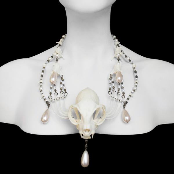 Cat skull & bones, brass beads, faux pearls 20 x 2.25 x 3.5 x 2 in. $750.00