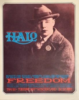 Haight Ashbury Legal Organization Halo Freedom Winterland 1967original poster, 14 x 19 in. $300