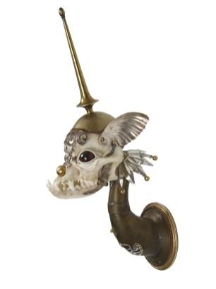 Antique brass and hardware, bone, velvet, glove leather, glass eyes, 8 x 4 x 6 in. $3,200.00