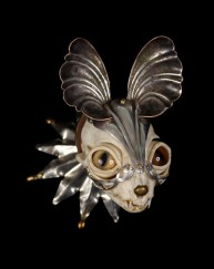 Antique hardware and findings, brass, bone, steel, silver, glove leather, and glass eyes, 4 x 3.5 x 4 in. $2,800.00