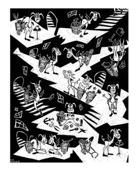 Kristine Kryttre - Workaday WorldSilkscreen print on heavy stock paper (edition of 100), 22.5 x 17.5 in. $30