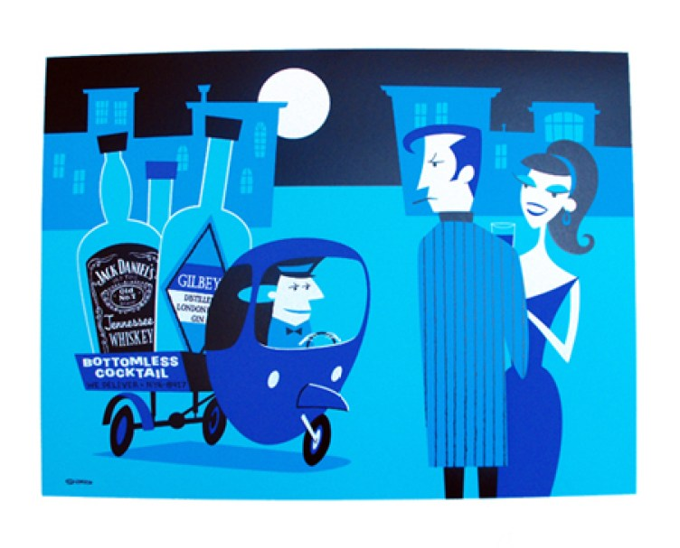 Shag - Cocktail Delivery Silkscreen (edition of 300), 23 x 28.5 in. $350