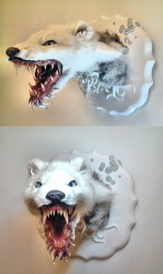Arctic fox, domestic rabbit, epoxy and polymer clay sculpture, hand-painted glass eyes, acrylic paint, and varnish, 11 x 11 x 15 in. $700.00