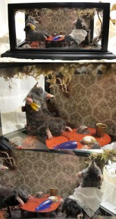 Moles, miniature furniture, victorian wallpaper, moss, roots, and insects in a glass case, 7 x 14 x 8 in. $800.00