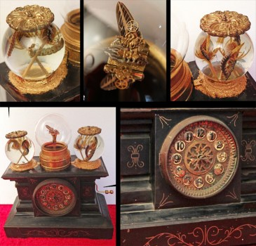 White Lined Sphinx Moth, White Lined Sphinx Caterpillars, Sea Holly, antique clock parts, music box, genuine Peridot gemstone set in 14k gold. Movement: A hand crank makes the butterfly move up & down & flap it's wings. 15.5 x 6.5 x 16.75 in. $1,200.00 Sold
