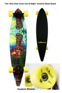 skate deck with custom wheels, 9 x 40 in. $190 with wheels, $150 without wheels