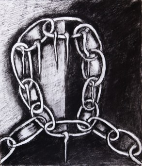 """Charcoal on paper 14"""" x 17"""" in 20"""" x 22"""" frame $600"""