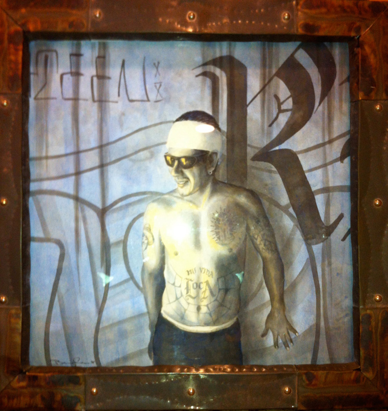 "Ned Baughman (d. 2005) - Mi Vida LocaAcrylic & ink on paper, 20x20"" in 24x24"" frame $2,800"