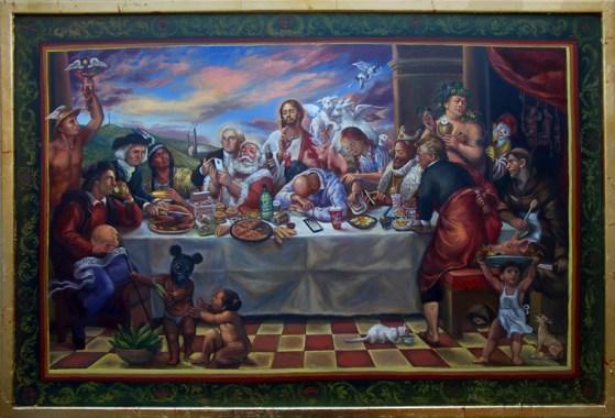Patrick V. McGrath Muñiz - Sacro ConsumoOil and metal leaf on panel, 24 x 36 in. $6,900