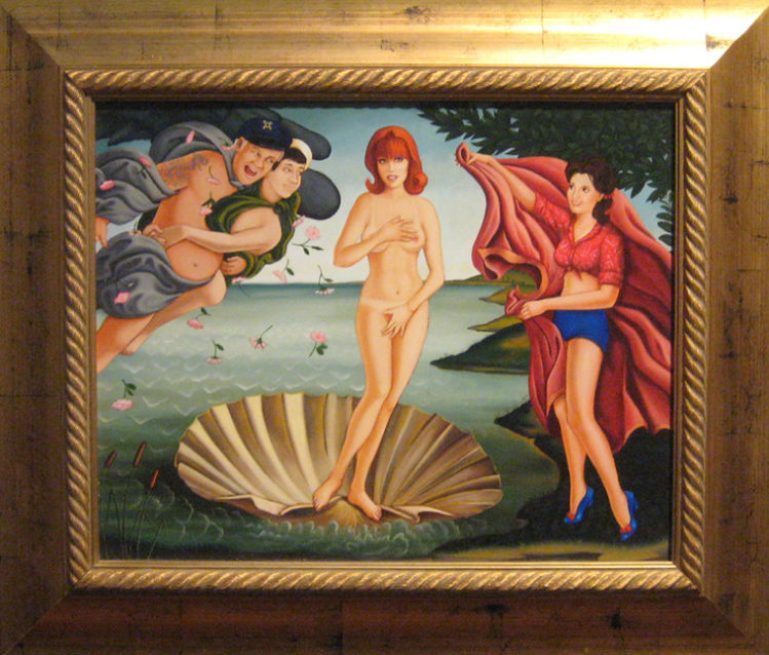 "Isabel Samaras - The Birth of Ginger oil on wood, 27.5x23.5"" (in 28x32"" frame), $6000"