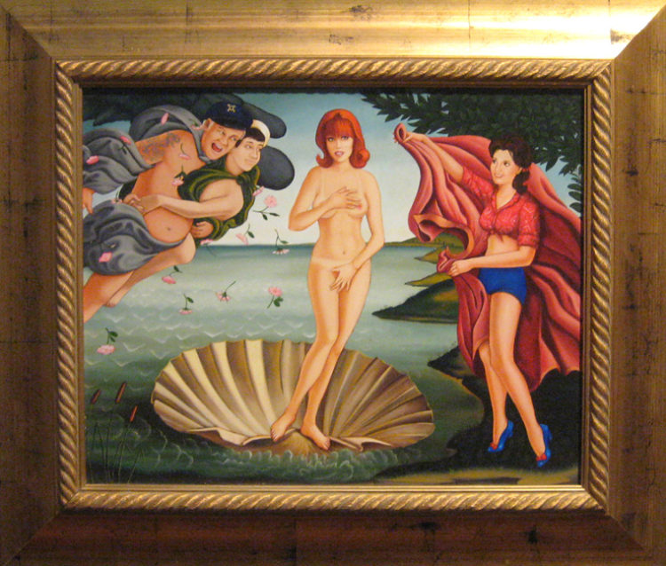 """Isabel Samaras - The Birth of Ginger oil on wood, 27.5x23.5"""" (in 28x32"""" frame), $6000"""