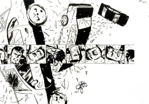 "POWERS (2010) - Brian Michael Bendis & Michael Avon Oeming Issue #3, Page 32-33: Double Page Splash Detective Walker Car Crash, 11"" x 17"" $1,000"