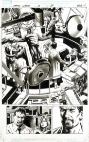 """CAPTAIN AMERICA (2008) ORIGIN - Ed Brubaker, Steve Epting (signed) & Jackson """"Butch"""" Guice, Issue #33, page 23: Origin of Bucky as New Cap (Featuring Tony Stark & Black Widow), 11"""" x 17"""" $1,000"""