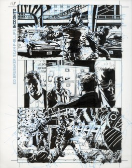 "INCOGNITO (2008) - Ed Brubaker & Sean Phillips, Issue #1, Page 8: Overkill Origins, Ink and blue-line on board 11"" x 17"" $700"