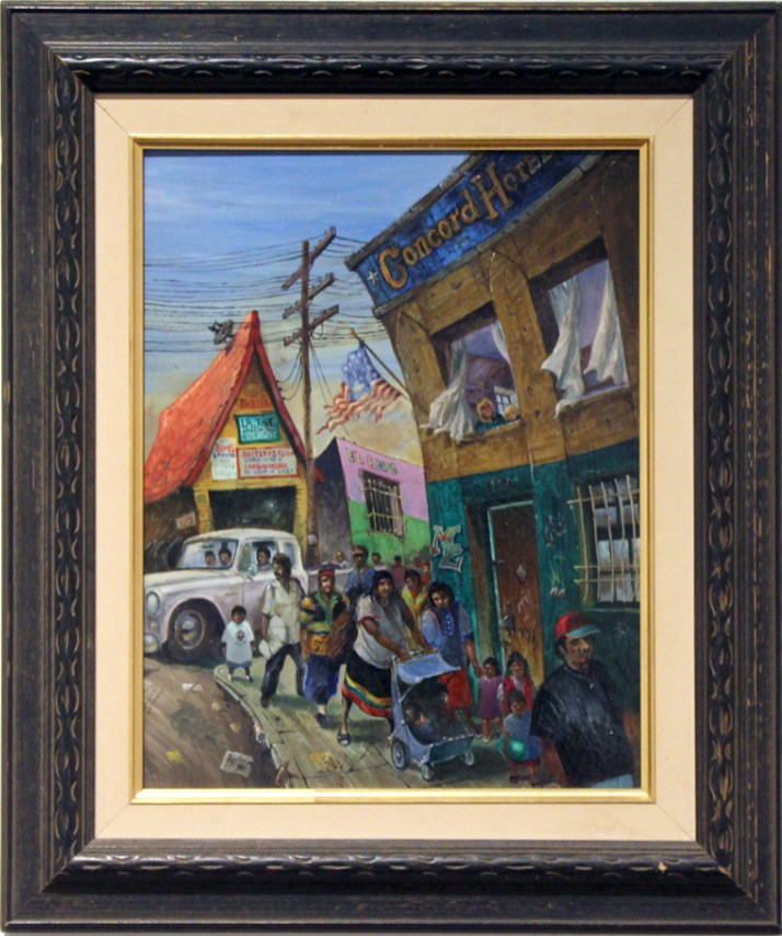 "Harold Fox - Concord Hotel Oil on masonite. 12x16"" in 19x23"" frame $700 Sold"