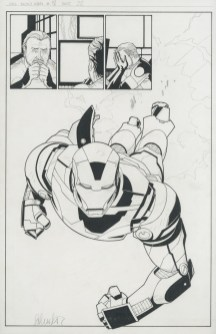 """THE INVINCIBLE IRON MAN (2008) 1st IRON PATRIOT - Matt Fraction & Salvador Larroca (signed), Issue #18, Page 22: Splash First Appearance of The Iron Patriot, 11"""" x 17"""" $1,200"""