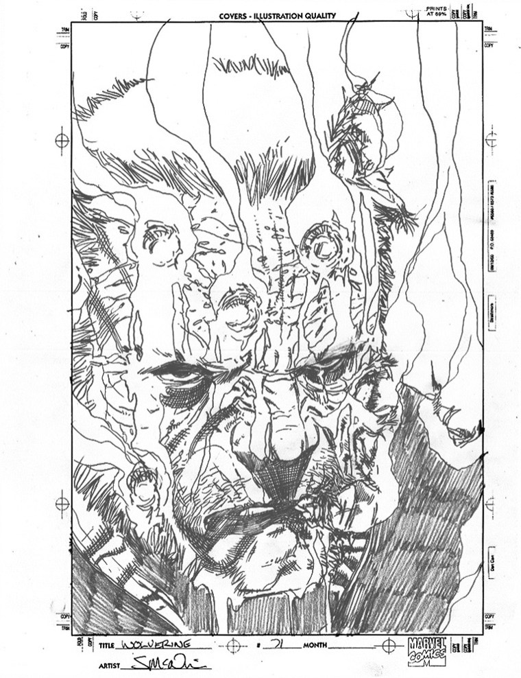 """WOLVERINE: OLD MAN LOGAN (2010) COVER PRE-LIM - Mark Millar & Steve McNiven (signed), Issue #71, Cover Rough (gore cover) graphite on paper, 8.5"""" x 11"""" $2,000"""