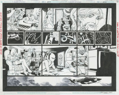 """SEVEN SOLDIERS OF VICTORY (2005) - Grant Morrison & J.H. Williams III (signed by both) Issue #0, Pages 18 & 19: Full Team Double Page Splash, 22"""" x 17"""" $1,200"""