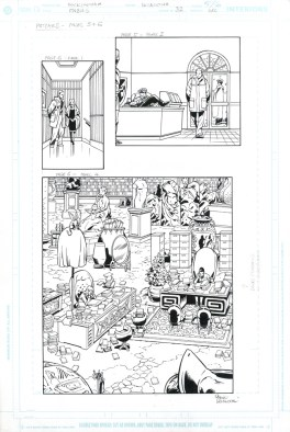"""FABLES (2005) THE MEAN SEASONS - Bill Willingham, Mark Buckingham & Steve Leialoha (signed), Issue #32, Page 5 & 6: The Library Splash & Patches 11"""" x 17"""" $500"""