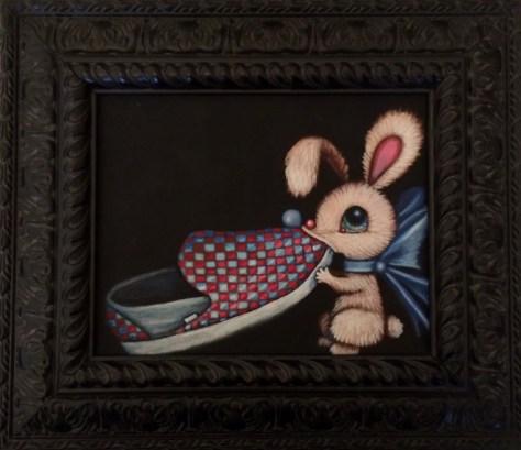Edward Robin Coronel - Tater PieAcrylic on canvas 10 x 8 in. (15.5 x 13.1 in. framed), $475