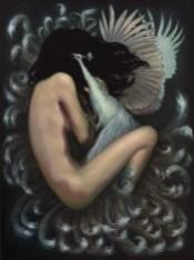 Genie Melisande - Vanity Ritual Oil on watercolor paper. 12 x 16 in. (18 x 24 in., framed) $600