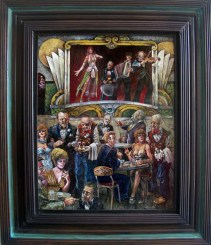 """Harold Fox - A Night at the Critical Eye Oil on masonite. 15x12"""" in 21x17.75"""" frame$850 Sold"""