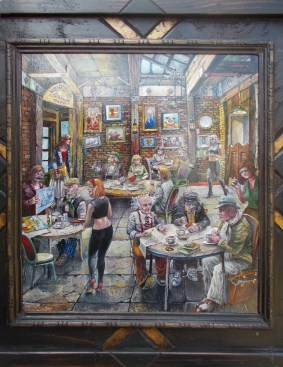 "Harold Fox - Coffee House Oil on masonite. 11x13"" in 16x18"" custom frame $950 Sold"