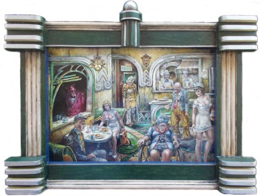 "Harold Fox - Existential Burgers Oil on masonite. 16x11"" in 22x15.25"" custom frame $1,000 Sold"