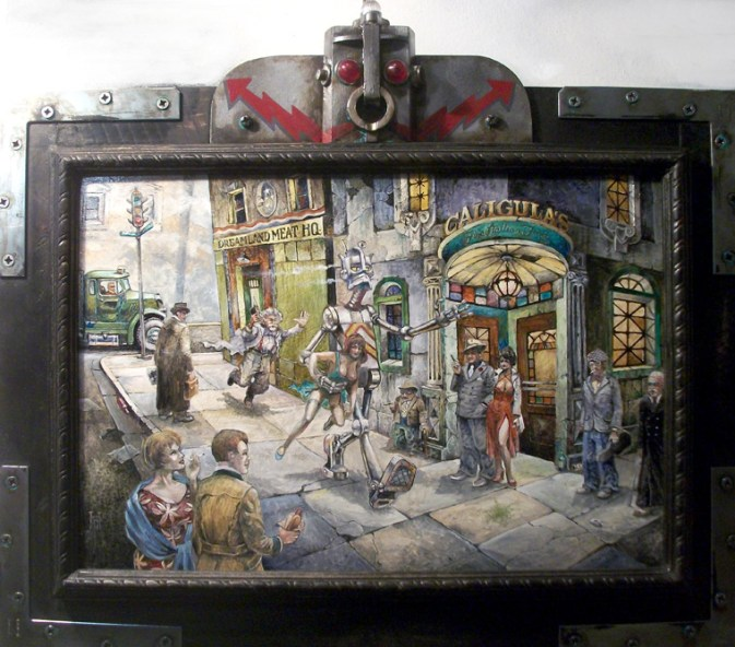 "Harold Fox - Mechanical Man Oil on masonite. 17.75x11.75"" in 23.25x17.5"" custom frame $1,000 Sold"