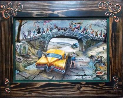 """Harold Fox - Passing Into Oblivion Oil on masonite. 11.25x16.5"""" in 17.25x22"""" custom frame $1,000 Sold"""
