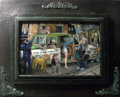 "Harold Fox – Zig Zag Taxi Oil on masonite. 12x7.75"" in 18.5x14.5"" custom frame $550 Sold"