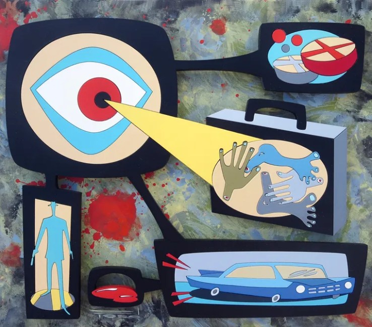 """Michelle Bickford - Missed A Spot acrylic on cut and shaped masonite, 11.25x9.5"""" (17x14.5"""" framed), $1,500"""