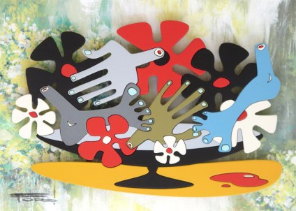 "Michelle Bickford - Still Life acrylic on cut and shaped masonite, 6.75x4.75"" (15x13"" framed), $600"