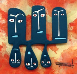 """Michelle Bickford - The Usual Suspects acrylic on cut and shaped masonite, 2.5x2.5"""" (8x8"""" framed), $400 Sold"""