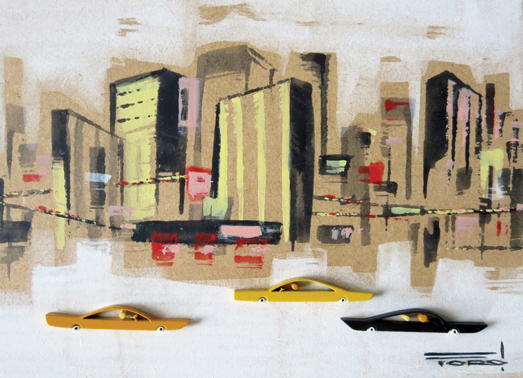 """Michelle Bickford - Touring The Town acrylic on cut and shaped masonite, 6.5x4.5"""" (10.5x8.75"""" framed), $500 Sold"""