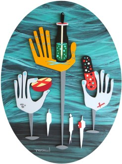 "Michelle Bickford - Visiting The Hall of Poison acrylic on cut and shaped masonite, 9.75x12.75"" (14.5x17.5"" framed), $1,200"