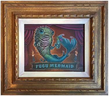 "Doug Horne - Fugu MermaidPencil on paper, 18x20"" framed $600"