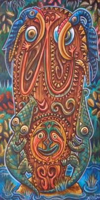 """Ken Ruzic - Lucky Dayacrylic on wood, 10x20"""" $400"""