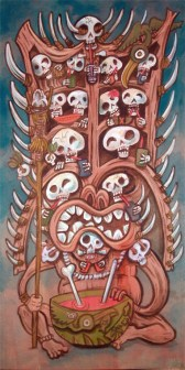 "Ken Ruzic - The Cannibal King's Drunken Headdressacrylic on masonite/artboard, 10x20"", (16x26"" with a Bamboo Ben frame) $400"