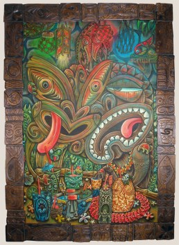 "Ken Ruzic - Too Much InformationAcrylic on wood, 24x36"" (29.5x41"" in frame carved by Derek Weaver), $2,500 Sold"